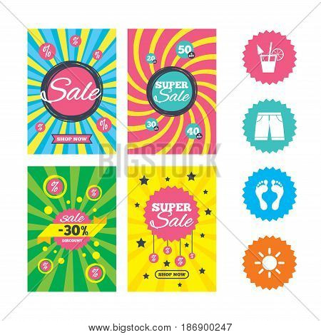 Web banners and sale posters. Beach holidays icons. Cocktail, human footprints and swimming trunks signs. Summer sun symbol. Special offer and discount tags. Vector