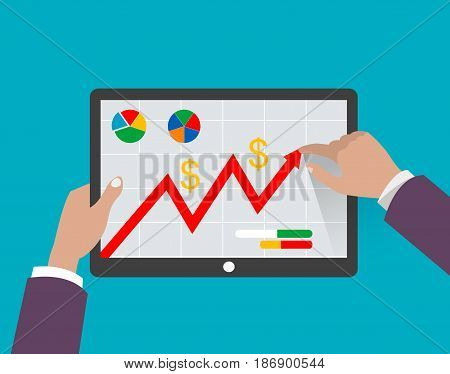 Concept illustration of growing profit and business success. Vector