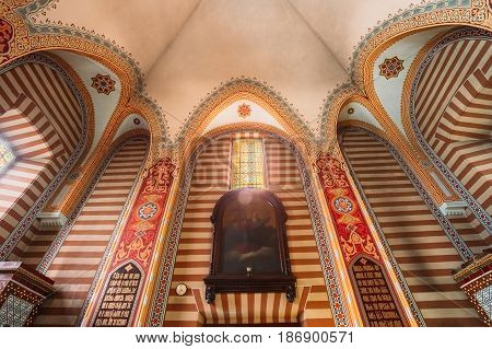 Vilnius, Lithuania - July 04, 2016: The Vaulted Painted Ceiling With The Chandelier Of Orthodox Church Of St.Nicholas.