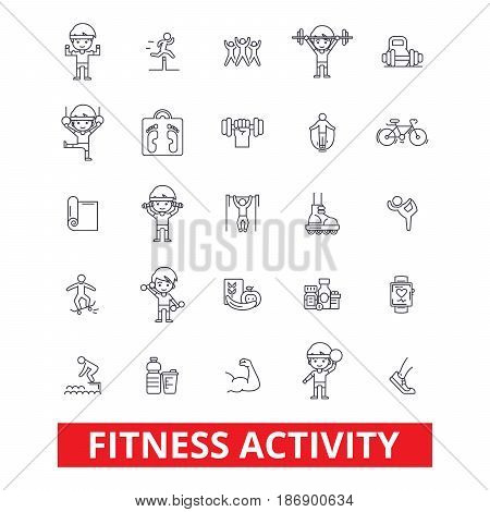 Fitness, exercise gym, keep fit, yoga, bodybuilding lifestyle, active sports, line icons. Editable strokes. Flat design vector illustration symbol concept. Linear signs isolated on white background