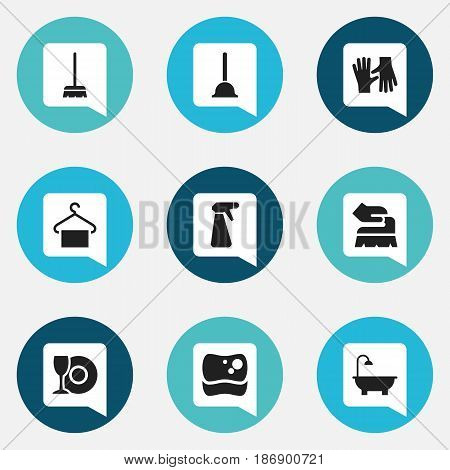 Set Of 9 Editable Cleaning Icons. Includes Symbols Such As Hanger, Rubber Drain, Plate And More. Can Be Used For Web, Mobile, UI And Infographic Design.