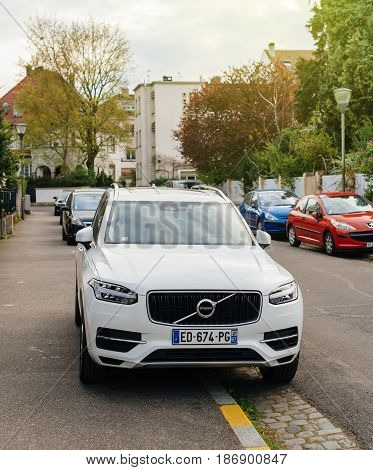 PARIS FRANCE - APR 2 2017: Luxury white Volvo XC90 the luxury crossover SUV manufactured and marketed by Volvo Cars