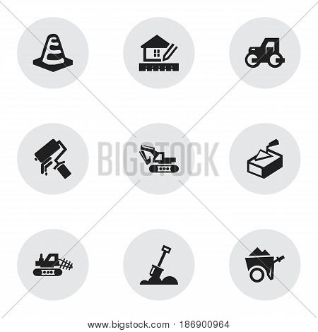 Set Of 9 Editable Building Icons. Includes Symbols Such As Spatula, Notice Object, Mule And More. Can Be Used For Web, Mobile, UI And Infographic Design.