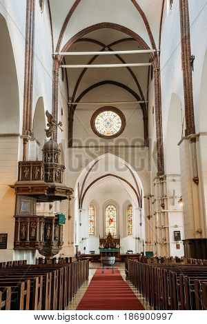 Riga, Latvia - July 2, 2016: Riga, Latvia. Interior Of The Riga Dom Dome Cathedral. Church Pews