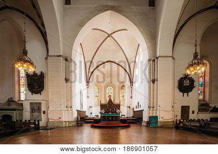 Riga, Latvia - July 2, 2016: Riga, Latvia. Interior Of The Riga Dom Dome Cathedral. Altar In Church.