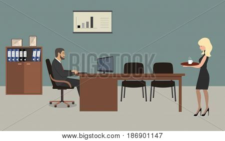 Office workers. A scene from office life: the secretary brought coffee to the chief. There is a brown furniture, black chairs, a cabinet for documents in the picture. Vector flat illustration