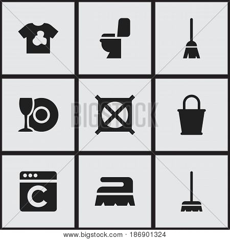 Set Of 9 Editable Dry-Cleaning Icons. Includes Symbols Such As No Laundry, Broomstick, Whisk And More. Can Be Used For Web, Mobile, UI And Infographic Design.