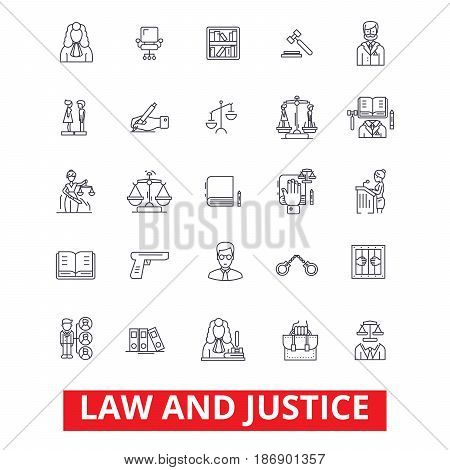 Law firm, lawyer, business attorney, scales of justice, legal court, gavel judge line icons. Editable strokes. Flat design vector illustration symbol concept. Linear signs isolated on white background