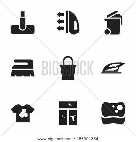 Set Of 9 Editable Cleanup Icons. Includes Symbols Such As Washing Tool, Steam, Appliance And More. Can Be Used For Web, Mobile, UI And Infographic Design.