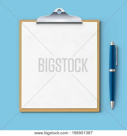 Vector illustration of clipboard with blank paper and detailed blue classic ballpoint pen