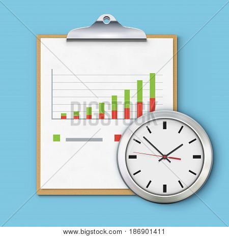 Vector illustration of timing concept with classic clock clipboard and productivity chart