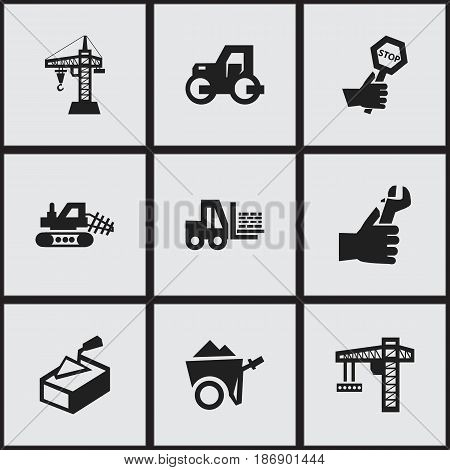 Set Of 9 Editable Structure Icons. Includes Symbols Such As Hands , Truck , Handcart. Can Be Used For Web, Mobile, UI And Infographic Design.