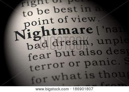 Fake Dictionary Dictionary definition of the word nightmare. including key descriptive words.