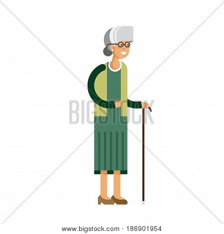 illustration of isolated grandmother on white background. Old woman with glasses and walkins cane. Senior citizen. Elderly person.