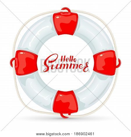Lifebuoy with rope and lettering Hello Summer isolated on white background, illustration.