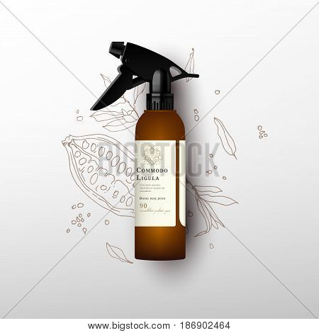Realistic brown bottle for cosmetic. Realistic spray pistol cleaner, plastic bottle, trigger spray. Mock up bottle. Cosmetic vial, shampoo, oil, gel. Design label. Cocoa fruit background