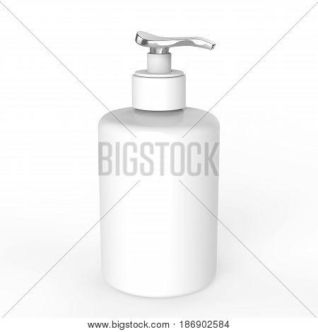 3D illustration white ceramic bottle with liquid soap on a white background