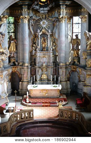 MAINZ, GERMANY - MAY 14: The pompous altar of the St. Stephan church with gold-decorated sacred art on April 20, 2017 in Mainz.