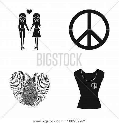 Lesbians, fingerprints, sign, dress.Gayset collection icons in black style vector symbol stock illustration .