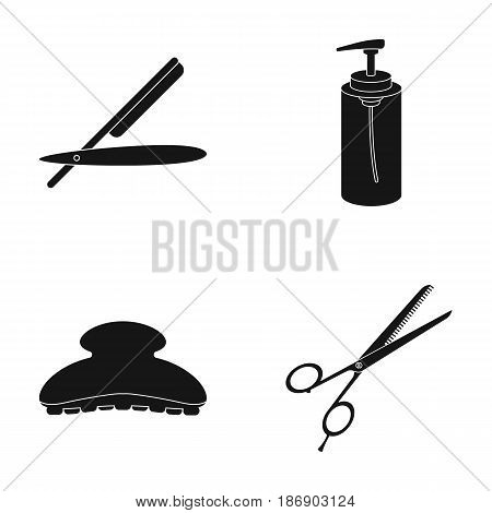Razor, lotion, brush, scissors. Hairdresser set collection icons in black style vector symbol stock illustration .