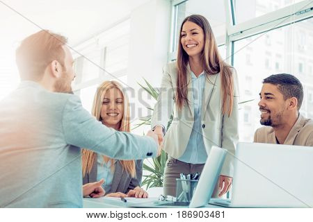 Business handshake and business people.Business people shaking handsfinishing up a meeting.