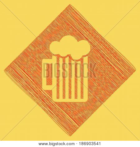 Glass of beer sign. Vector. Red scribble icon obtained as a result of subtraction rhomb and path. Royal yellow background.