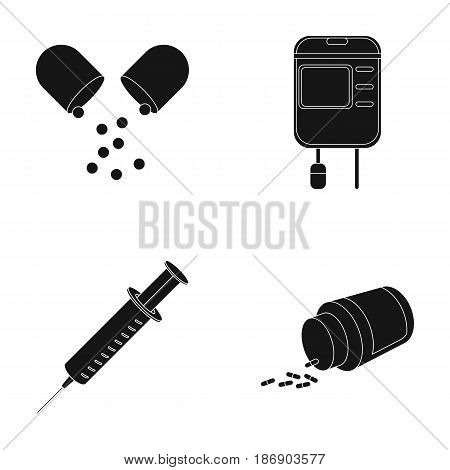 Pills, a syringe, a container of blood.Mtdicine set collection icons in black style vector symbol stock illustration .