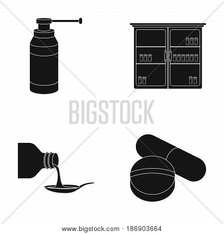 Inhaler, medical cabinet, tablets, syrup in a spoon.Mtdicine set collection icons in black style vector symbol stock illustration .