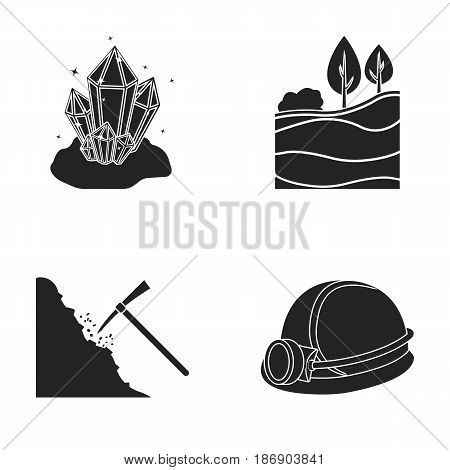 Crystals, coal seam, pickaxe, helmet with a lantern.Mine set collection icons in black style vector symbol stock illustration .