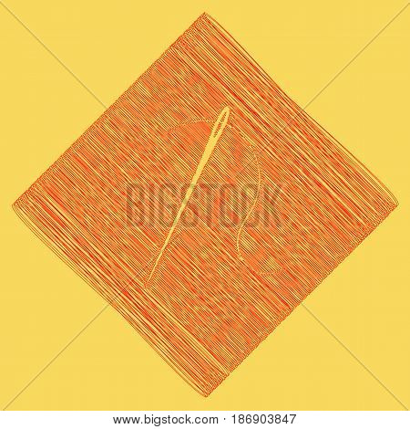Needle with thread. Sewing needle, needle for sewing. Vector. Red scribble icon obtained as a result of subtraction rhomb and path. Royal yellow background.
