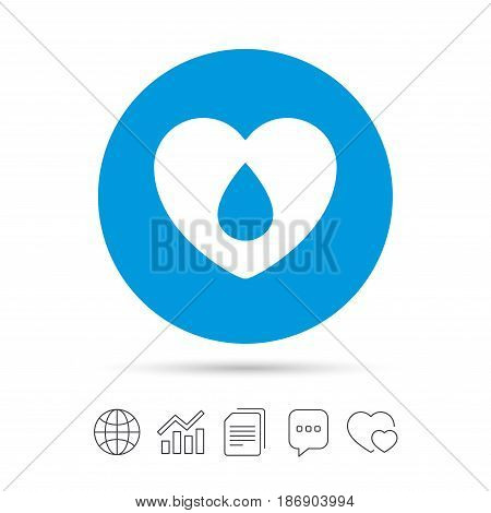 Blood donation sign icon. Medical donation. Heart with blood drop. Copy files, chat speech bubble and chart web icons. Vector