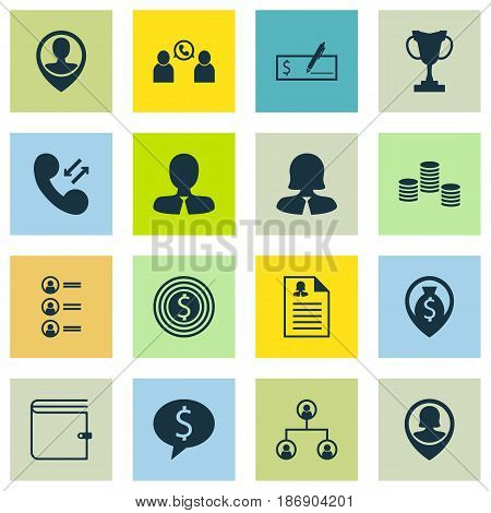 Set Of 16 Hr Icons. Includes Tournament, Business Woman, Bank Payment And Other Symbols. Beautiful Design Elements.