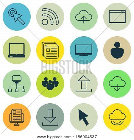 Set Of 16 Internet Icons. Includes Mouse, Wifi, Cursor Tap And Other Symbols. Beautiful Design Elements.