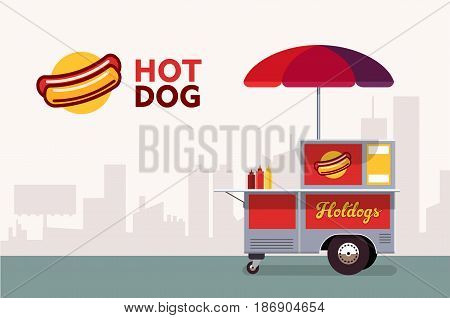 Hot dog street cart. Fast food stand vendor service. Kiosk seller business. Flat banner. Vector illustration