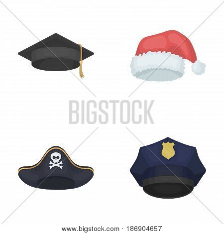 Graduate, santa, police, pirate. Hats set collection icons in cartoon style vector symbol stock illustration .