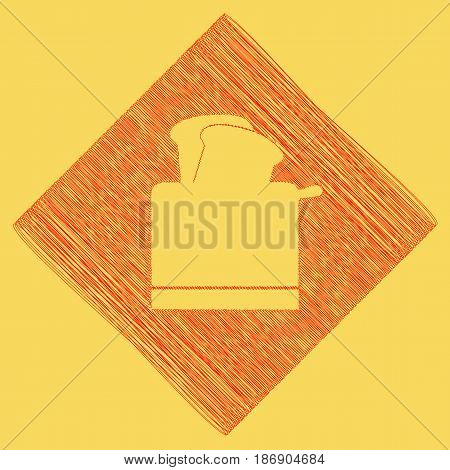 Toaster simple sign. Vector. Red scribble icon obtained as a result of subtraction rhomb and path. Royal yellow background.
