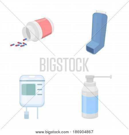 Tablets, inhaler, container with blood, spray.Medicine set collection icons in cartoon style vector symbol stock illustration .