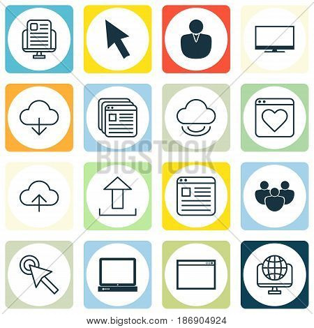 Set Of 16 Online Connection Icons. Includes Computer Network, Send Data, Account And Other Symbols. Beautiful Design Elements.