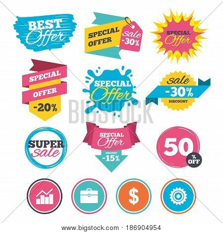 Sale banners, online web shopping. Business icons. Graph chart and case signs. Dollar currency and gear cogwheel symbols. Website badges. Best offer. Vector