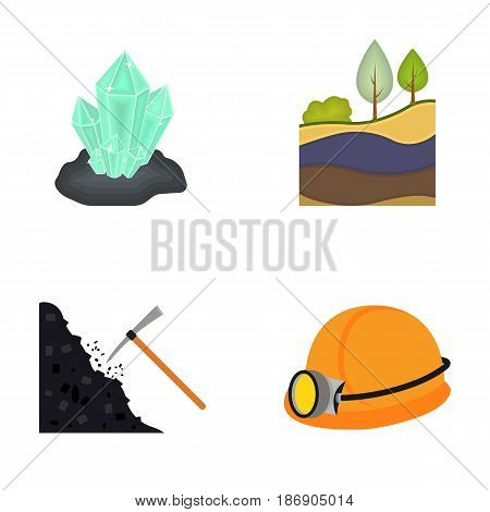 Crystals, coal seam, pickaxe, helmet with a lantern.Mine set collection icons in cartoon style vector symbol stock illustration .