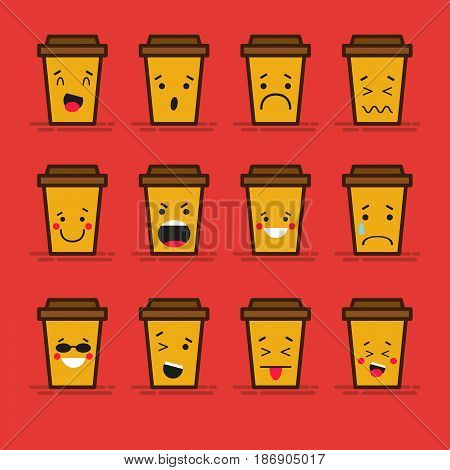 Set of 12 modern flat emoticons: Coffee take-away or coffee to go, cardboard cup with plastic lid, hot drink, smile, sadness and other emotions. Vector illustration isolated of red background