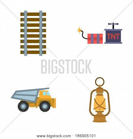 Ryllsy, vzryvchatka, dumper, lantern.Mine set collection icons in cartoon style vector symbol stock illustration .