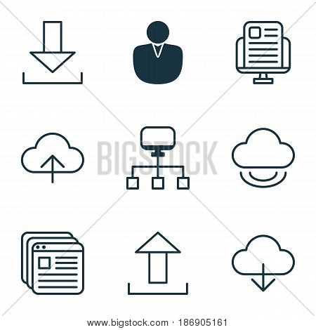 Set Of 9 World Wide Web Icons. Includes Website Bookmarks, Local Connection, Blog Page And Other Symbols. Beautiful Design Elements.