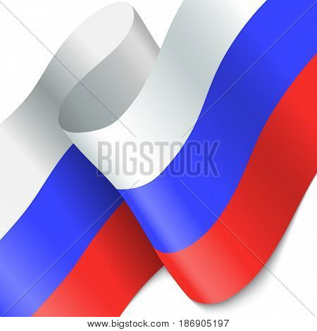 Russia flag. Waving colorful Russia flag. EPS 10
