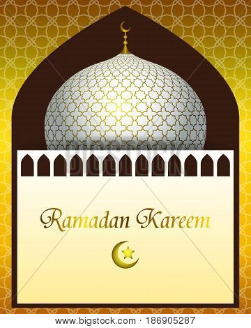 Ramadan Kareem greeting card. Vector islamic pattern with a mosque dome for background.