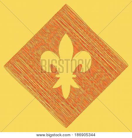 Elements for design. Vector. Red scribble icon obtained as a result of subtraction rhomb and path. Royal yellow background.