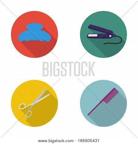 Brush, straightener, scissors, comb. Hairdresser set collection icons in flat style vector symbol stock illustration .