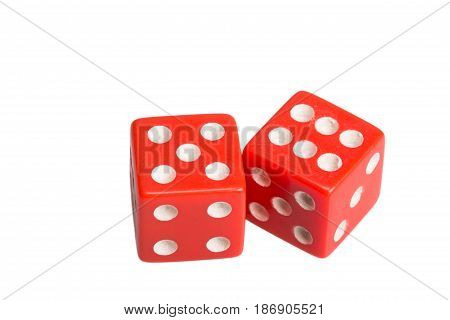 Two dice showing five and six, on white background.