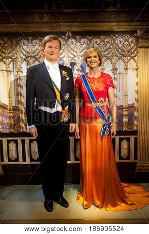 Amsterdam, Netherlands - March, 2017: Wax figure of Dutch Royal family in Madame Tussauds Wax museum in Amsterdam, Netherlands