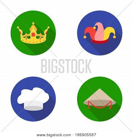 Crown, jester's cap, cook, cone. Hats set collection icons in flat style vector symbol stock illustration .